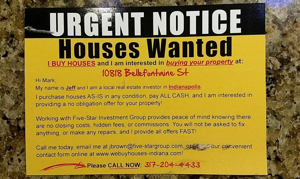 Average Real Estate Postcard Back